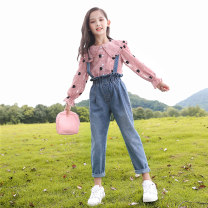 suit Youmi house Pink suit (detachable strap) Beige suit (detachable strap) 120cm 130cm 140cm 150cm 160cm 170cm female spring and autumn leisure time Long sleeve + pants 2 pieces routine Single breasted nothing other YMW-20195 Class C Other 100% Autumn 2020 Chinese Mainland Zhejiang Province