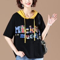 T-shirt White black L XL Summer 2020 Short sleeve Hood easy Regular routine commute other 96% and above 30-39 years old Korean version originality Letter splicing Wei Wei Stitching lacing Other 100.00% Pure e-commerce (online only)