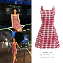 Dress Summer 2021 Picture color S,M,L Short skirt Sleeveless Sweet square neck lattice zipper camisole 18-24 years old Type A zipper