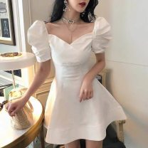 Dress Summer 2020 white S,XS,L,M Short skirt singleton  Short sleeve commute square neck High waist Solid color zipper A-line skirt puff sleeve Others 25-29 years old 71% (inclusive) - 80% (inclusive) other polyester fiber