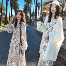 Dress Bing moon Print dress long sleeve print dress sling M L XL XXL Korean version Long sleeves have more cash than can be accounted for summer V-neck Decor Chiffon B105583