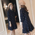 Dress Bing moon Blue pony M L XL XXL Korean version Long sleeves routine autumn Lapel Abstract pattern Pure cotton (95% and above)