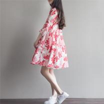 Dress Bing moon Red flower + Sling Blue Flower + sling M L XL XXL elbow sleeve routine summer square neck Decor hemp B740336