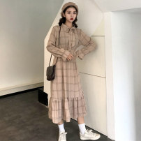 Dress Spring 2021 Apricot, dark blue, green Average size Mid length dress singleton  Long sleeves commute High waist lattice Socket A-line skirt routine Others 18-24 years old Type A Other / other Korean version 0221@ 31% (inclusive) - 50% (inclusive) other