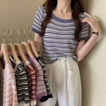 T-shirt White, purple, red, blue, black, pink Average size Summer 2021 Short sleeve Crew neck Self cultivation have cash less than that is registered in the accounts routine commute other 31% (inclusive) - 50% (inclusive) 18-24 years old Korean version Thin horizontal stripe Other / other W0414