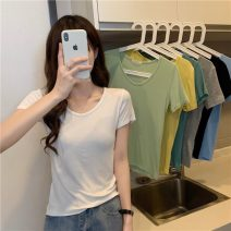T-shirt Average size Summer 2021 Short sleeve Crew neck Self cultivation have cash less than that is registered in the accounts commute other 30% and below 18-24 years old Korean version Other / other 0409L