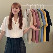 shirt Average size Summer 2021 other 30% and below Short sleeve commute Regular tailored collar Single row multi button 18-24 years old Straight cylinder Other / other Korean version 0414L