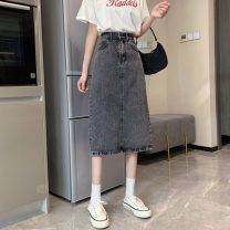 skirt Summer 2021 S,M,L,XL grey Mid length dress commute High waist A-line skirt Solid color Type A 18-24 years old W0415 30% and below other Other / other Korean version