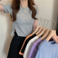T-shirt Average size Summer 2021 Short sleeve Crew neck Self cultivation have cash less than that is registered in the accounts commute other 30% and below 18-24 years old Korean version Other / other 0406L