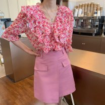 Fashion suit Spring 2021 S. M, l, average size Red shirt, green shirt, green skirt, pink skirt 18-25 years old Other / other 0331L 30% and below