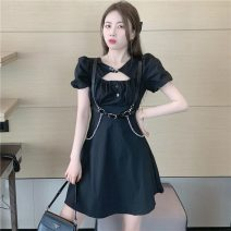 Dress Summer 2021 White dress, black dress, belt S. M, l, average size Short skirt singleton  Short sleeve commute square neck High waist Solid color Socket A-line skirt puff sleeve 18-24 years old Type A Other / other Korean version W0417 30% and below other
