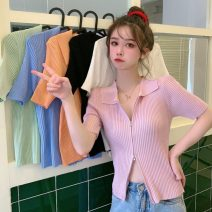 T-shirt Light green, white, blue, black, purple, pink, orange Average size Summer 2021 Short sleeve Polo collar easy have cash less than that is registered in the accounts commute other 30% and below 18-24 years old Korean version Solid color Other / other 0405L