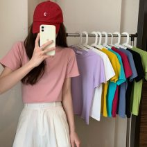 T-shirt White, purple, yellow, black, pink, fruit green, lake green, rose pink, haze blue Average size Spring 2021 Short sleeve Crew neck Straight cylinder have cash less than that is registered in the accounts commute other 30% and below 18-24 years old Korean version Other / other 0310L
