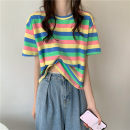 T-shirt Card stripe, blue stripe, pink stripe, yellow stripe Average size Summer 2021 Short sleeve Crew neck Self cultivation have cash less than that is registered in the accounts commute other 30% and below 18-24 years old Korean version Thick horizontal stripe Other / other 0412L