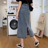 skirt Spring 2021 S,M,L,XL blue Mid length dress commute High waist A-line skirt Solid color Type A 18-24 years old 0303M 31% (inclusive) - 50% (inclusive) other Other / other Korean version