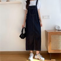 Dress Summer 2021 navy blue S,M,L,XL Mid length dress singleton  Sleeveless commute High waist Socket straps 18-24 years old Type H Other / other Korean version 0412Y 31% (inclusive) - 50% (inclusive)