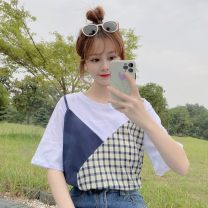 T-shirt Fake two yellow, fake two blue Average size Summer 2021 Short sleeve Crew neck easy Regular routine Sweet cotton 71% (inclusive) - 85% (inclusive) Under 17 originality Color matching 0316@ solar system