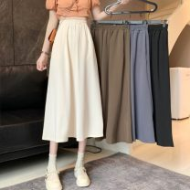 skirt Summer 2021 Average size Khaki, apricot, blue, black Mid length dress commute High waist A-line skirt Solid color Type A 18-24 years old 0417M 30% and below other Other / other Korean version