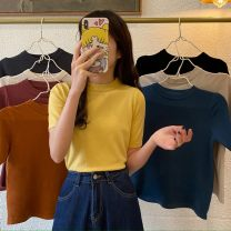 T-shirt Retro grey, rice apricot, raspberry powder, dirty orange, temperament black, oat, blue, cream yellow Average size Spring 2021 Short sleeve Crew neck Self cultivation have cash less than that is registered in the accounts commute other 30% and below 18-24 years old Korean version Other / other
