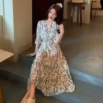 Dress Spring 2021 White dress S,M,L Mid length dress singleton  Short sleeve commute V-neck High waist Broken flowers zipper A-line skirt routine Others 18-24 years old Type A Other / other Korean version Embroidery W0329 31% (inclusive) - 50% (inclusive) other other