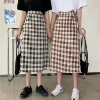 skirt Spring 2021 S,M,L Black check, coffee check Mid length dress commute High waist A-line skirt lattice Type A 18-24 years old 0402Y 30% and below other Other / other Korean version