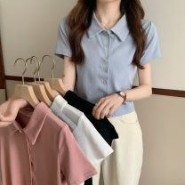 T-shirt Gray, white, blue, black, pink Average size Summer 2021 Short sleeve Polo collar Self cultivation have cash less than that is registered in the accounts routine commute other 30% and below 18-24 years old Korean version Solid color Other / other W0413