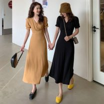 Dress Spring 2021 Yellow, black S (80-100kg), m (100-130kg) Mid length dress singleton  Short sleeve commute V-neck High waist Solid color Socket A-line skirt puff sleeve Others 18-24 years old Type A Other / other Korean version W0330 30% and below other