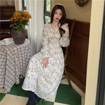 Dress Spring 2021 Picture color Average size longuette singleton  Long sleeves commute V-neck High waist Broken flowers Socket A-line skirt puff sleeve 18-24 years old Type A Other / other Korean version 0313Y 31% (inclusive) - 50% (inclusive)