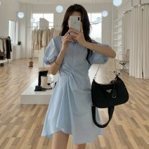 Dress Summer 2021 White, blue Average size Short skirt singleton  Short sleeve commute Polo collar High waist Solid color Socket Irregular skirt puff sleeve 18-24 years old Type A Other / other Korean version W0413 51% (inclusive) - 70% (inclusive) other