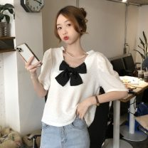 T-shirt White, blue Average size Spring 2021 Short sleeve Crew neck Straight cylinder Regular puff sleeve commute other 30% and below 18-24 years old Korean version Solid color Other / other W0401