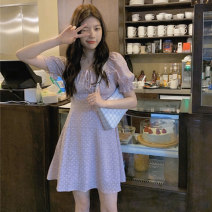 Dress Spring 2021 Graph color Average size Short skirt singleton  Short sleeve commute square neck High waist Dot Socket A-line skirt puff sleeve 18-24 years old Type A Other / other Korean version W0222 30% and below other