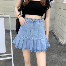 skirt Summer 2021 S,M,L blue Short skirt commute High waist Pleated skirt Type A 18-24 years old 0406L 30% and below other Other / other Korean version