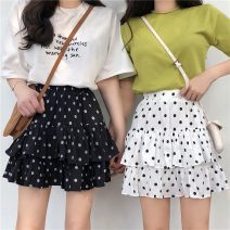 skirt Summer 2021 Average size White, black Short skirt commute High waist Cake skirt Dot Type A 18-24 years old W0418 51% (inclusive) - 70% (inclusive) other Other / other Korean version