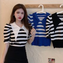 T-shirt White, blue, black Average size Summer 2021 Short sleeve Self cultivation have cash less than that is registered in the accounts puff sleeve commute other 31% (inclusive) - 50% (inclusive) 18-24 years old Korean version Thin horizontal stripe Other / other W0417