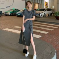 Dress Spring 2021 Gray, black Average size Mid length dress singleton  Short sleeve commute Crew neck Socket A-line skirt Others 18-24 years old Type A Other / other Korean version 0313L 30% and below other