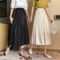 skirt Summer 2021 Average size Apricot, black Mid length dress commute High waist Pleated skirt Solid color Type A 18-24 years old W0412 30% and below other Other / other polyester fiber fold Korean version