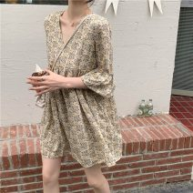 Dress Summer 2021 Yellow flowers, purple flowers, pink flowers M, L Short skirt singleton  elbow sleeve commute V-neck High waist Socket Big swing 18-24 years old Type H Other / other Korean version 0407Y 31% (inclusive) - 50% (inclusive)