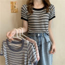 T-shirt White, black, pink, haze blue Average size Summer 2021 Short sleeve Crew neck Self cultivation have cash less than that is registered in the accounts commute other 30% and below 18-24 years old Korean version Thick horizontal stripe Other / other 0409L