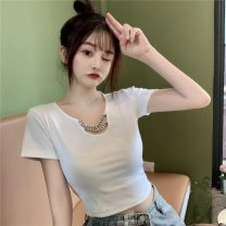 T-shirt White, black Average size Spring 2021 Short sleeve Crew neck Self cultivation have cash less than that is registered in the accounts routine commute other 30% and below 18-24 years old Korean version Solid color Other / other W0311