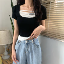 T-shirt White, black Average size Spring 2021 Short sleeve Fake two pieces have cash less than that is registered in the accounts commute other 30% and below 18-24 years old Korean version Other / other 0311L