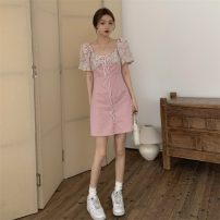 Dress Summer 2021 White, pink S, M Short skirt singleton  Short sleeve commute square neck Broken flowers puff sleeve Others 18-24 years old Other / other Korean version 0418L 30% and below other