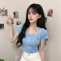 T-shirt Blue, black, pink Average size Spring 2021 Short sleeve square neck Self cultivation have cash less than that is registered in the accounts commute other 31% (inclusive) - 50% (inclusive) 18-24 years old Korean version Other / other 0403Y