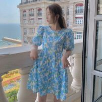 Dress Summer 2021 Blue, yellow Average size Short skirt singleton  Short sleeve commute Crew neck High waist Broken flowers Socket A-line skirt puff sleeve 18-24 years old Type A Other / other Korean version W0415 30% and below other