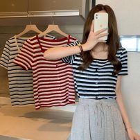 T-shirt Red stripe, blue stripe, apricot stripe Average size Spring 2021 Short sleeve square neck Self cultivation have cash less than that is registered in the accounts commute other 30% and below 18-24 years old Korean version Thick horizontal stripe Other / other 0402L