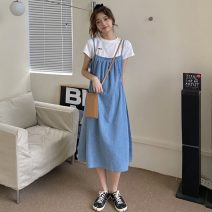 Dress Spring 2021 Picture color Average size Mid length dress singleton  Sleeveless commute High waist Solid color Socket A-line skirt camisole 18-24 years old Type A Other / other Korean version Button W0315 30% and below other other