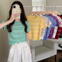 T-shirt Purple, red, green, blue, yellow, black, red, blue, white, red Average size Summer 2021 Short sleeve Crew neck Self cultivation have cash less than that is registered in the accounts routine commute other 31% (inclusive) - 50% (inclusive) 18-24 years old Korean version Thin horizontal stripe