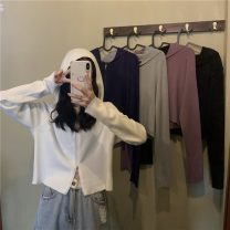 Wool knitwear Spring 2021 Average size Blue, gray, white, purple, black Long sleeves singleton  Cardigan Viscose 71% (inclusive) - 80% (inclusive) have cash less than that is registered in the accounts ultrathin commute easy Hood routine Solid color zipper Korean version 18-24 years old zipper
