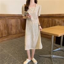 Dress Spring 2021 Apricot yellow Average size Mid length dress singleton  Short sleeve commute square neck High waist Broken flowers Socket A-line skirt puff sleeve 18-24 years old Type A Other / other Korean version W0402 31% (inclusive) - 50% (inclusive) other