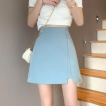skirt Summer 2021 S,M,L Blue, black Short skirt commute High waist A-line skirt Solid color Type A 18-24 years old 0408L 30% and below other Other / other other Korean version