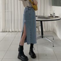 skirt Summer 2021 S,M,L blue Mid length dress commute High waist Denim skirt Solid color Type A 18-24 years old W0412 30% and below other Other / other Button Korean version